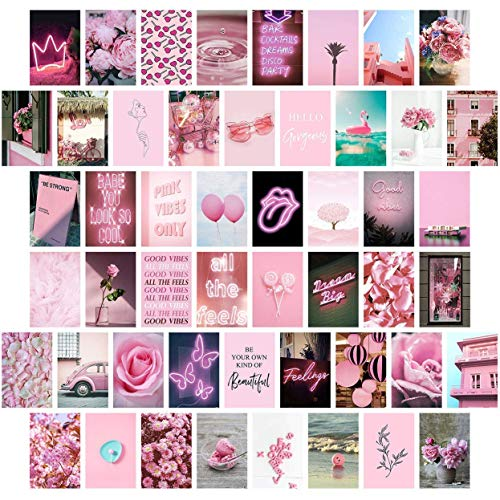 Pink Wall Collage Kit Aesthetic Pictures, Bedroom Decor for Teen Girls, Wall Collage Kit, Collage Kit for Wall Aesthetic, VSCO Girls Bedroom Decor, Aesthetic Posters, Collage Kit (50 Set 4x6 inch)