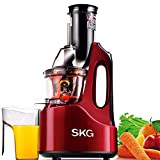 SKG Wide Chute Slow Masticating Juicer (240W AC Motor, 60 RPMs, 3″ Big Mouth), Cold Press Anti-Oxidation High Nutrient Fruit & Vegetable Juice Extractor, Certified by ETL. (Red)