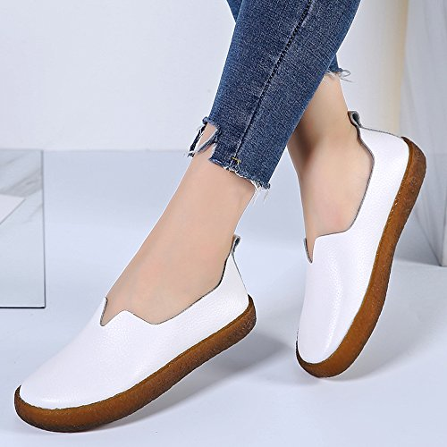 YZHYXS Womens Loafers Slip On Shoes Cow Leather Moccasins Comfort Fashion Sneakers White 01 mv6tzFCOT5