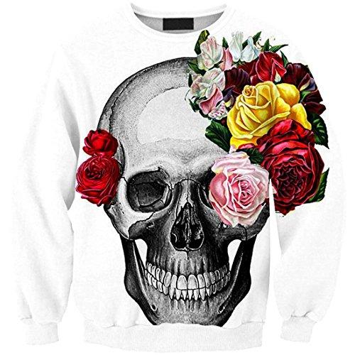 YICHUN mujeres niñas camiseta Tops fina Sudaderas Jersey jerséis blusa Print Flower Skull 11#