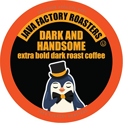 Java Giant Coffee - Java Factory Single Cup Coffee for Keurig K Cup Brewers, Dark and Handsome Dark Roast, 80 Count