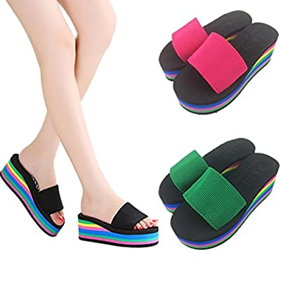Sunbona Women's Summer Fashion Rainbow Anti-slip Peep Toe High Platform Wedge Sandals Casual Ladies Flip Flops Slip-on Slipper Flats Shoes