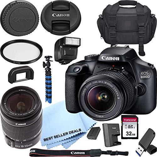 Canon EOS 4000D / Rebel T100 DSLR Camera w/Canon EF-S 18-55mm F/3.5-5.6 III Zoom Lens + Case + 32GB SD Card