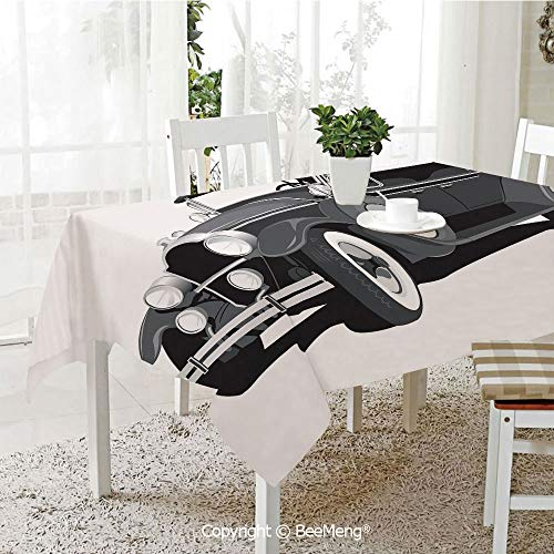 BeeMeng Dining Kitchen Polyester dust-Proof Table Cover,Old Timer American Black Car Classical Urban Travel Nostalgic Revival Engine,Black Grey White59 x 59 inches