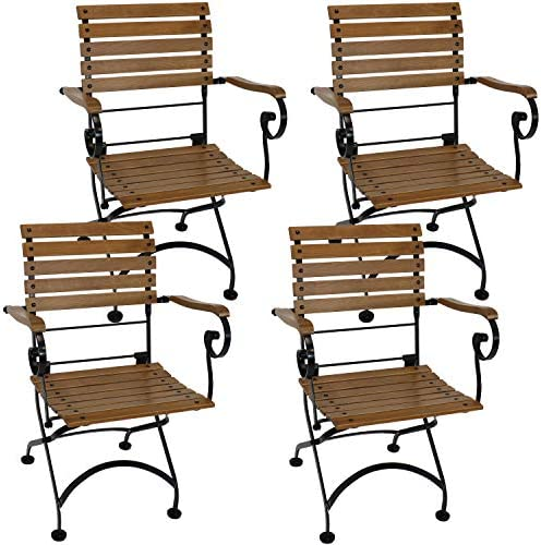 Sunnydaze Deluxe European Chestnut Wooden Folding Small Bistro Dining Armchair – Portable, Compact Side Chair – for Indoor or Outdoor Use – Patio, Deck, Balcony, Camping and Spare Seating – Set of 4