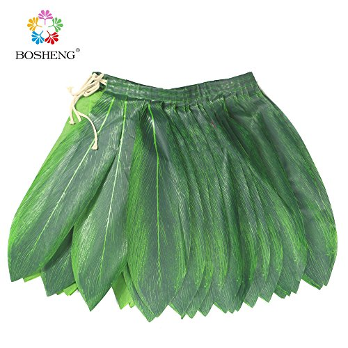 BOSHENG Ti Leaf Hula Skirt Luau Party Accessory Green Skirt Kids Size -