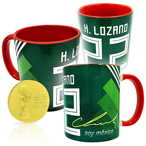 Gio Gifts Hirving Chucky Lozano Russia 2018 World Cup Autographed Mug & Gold Coin Souvenir