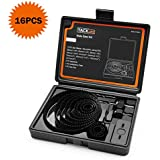 Hole Saw Kit, 16 Pieces 3/4''-5'' Full Set in Case with Mandrels, Hex Key and Install Plate for Soft Wood, PVC Board and Plastic Plate Drilling, Hardened High Carbon Steel - PHS01C