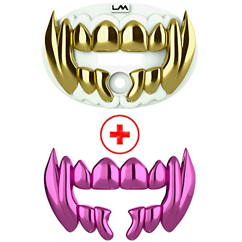 Loudmouth Football Mouth Guard | 3D Beast Chrome Adult and Youth Mouth Guard | Mouth Piece for Sports | Maximum Air Flow Mouth Guards (3D Beast - Chrome White/Gold + Pink)