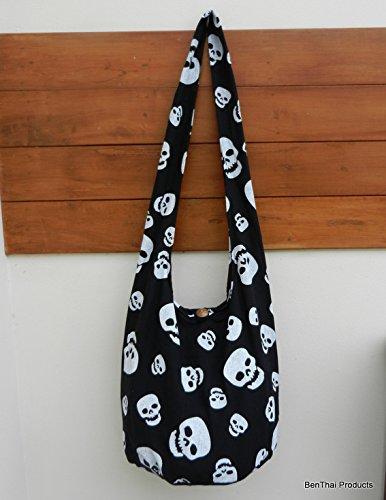 Bag Crossbody Purse BTP Sling Hippie Black Thai XL or Skull Punk Hobo Cotton Small Rock Messenger 84nwqzBf4F