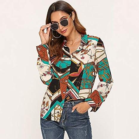 SETGVFG Blusas De Mujer Camisa De Blusa Vintage De Manga Larga Estampada De Moda Casual Turn Down Collar Ladies Tunic Tops Plus Size Blusas: Amazon.es: Deportes y aire libre