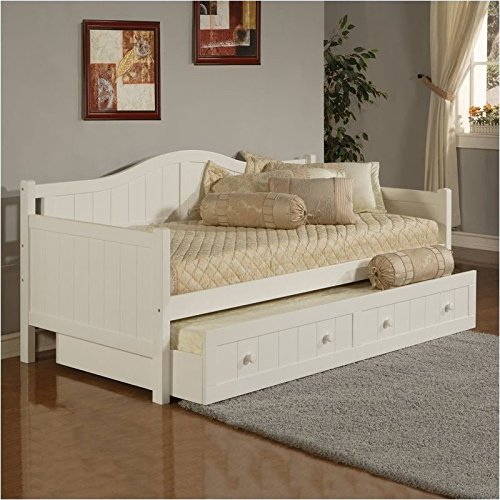 Bowery Hill Wood Daybed in White Finish With Trundle White Finish Trundle