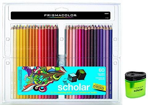 Prismacolor Scholar Colored Pencils 60 Assorted Colors (92808) + Prismacolor Scholar Colored Pencil Sharpener (1774266) by Prismacolor
