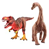 deAO Dinosaur Toys Hand Painted Realistic Looking Prehistoric Figures (T-Rex and Diplodocus)