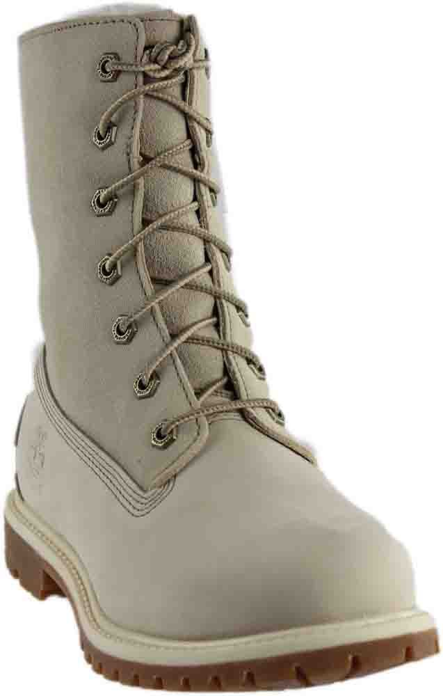 Timberland Women's Authentics Waterproof Fold-Down Teddy Fleece Boots White, 7