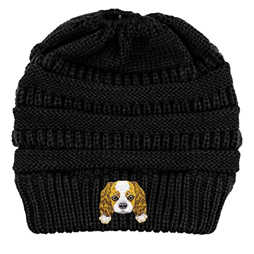 Lhotse Cavalier King Charles Spaniel/Embroidered Puppy Dog Series Beanie - Stretch Fleece Cable Knit High Bun Ponytail Skullies Hat Cap - ()
