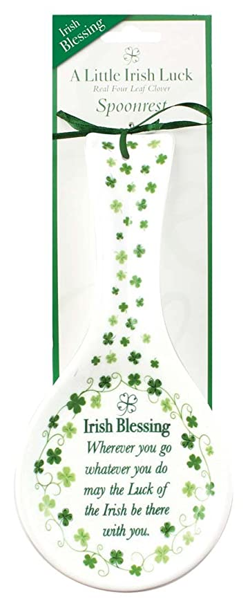 ceramic spoon rest with irish blessing and shamrock design