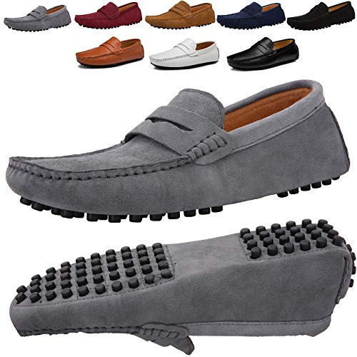 (JIONS Men's Driving Penny Loafers Suede Driver Moccasins Slip On Flats Casual Dress Shoes Grey 11 D(M) US/EU 46)