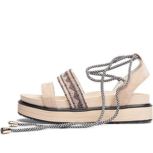 Señoras romanas Beige Mula plataforma señoras sandalias con Lace Sandalias verano Open SOHOEOS zapatos moda casual damas toe Up para Mujer cuña alta Nuevo qnwt8n1pB