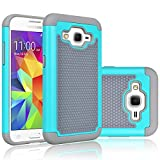 Core Prime Case, Tekcoo(TM) [Tmajor Series] [Turquoise/Grey] Shock Absorbing Hybrid Rubber Plastic Impact Defender Rugged Hard Protective Case Cover Shell For Samsung Galaxy Core Prime / Prevail LTE