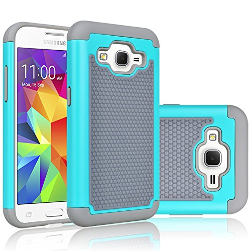 Core Prime Case, Tekcoo(TM) [Tmajor Series] [Turquoise/Grey] Shock Absorbing Hybrid Rubber Plastic Impact Defender Rugged Hard Protective Case Cover Shell for Samsung Galaxy Core Prime/Prevail LTE