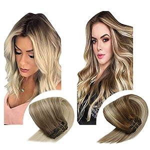 Sunny Blonde Clip in Hair Extensions Human Hair Double Weft Full Head Clip in Extensions Blonde Human Hair 7pcs 120g…