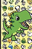 2020 Weekly Planner and Calendar: Dinosaur Cartoon on Cover with Zebras Whales Dogs Frogs Cows Sloths Penguins Raccoons Sheep Goats and Turtles on Yellow Background.