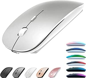 Rechargeable Bluetooth Mouse for MacBook pro/MacBook air/Laptop/iMac/ipad, Wireless Mouse for MacBook pro MacBook Air/iMac/Laptop/Notebook/pc (Bluetooth Mouse/Silver)