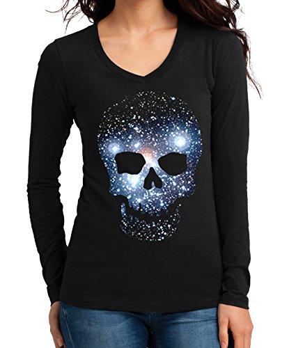 Junior's Galaxy Space Skull Tee Black Long Sleeve V-Neck T-Shirt Small Black ()