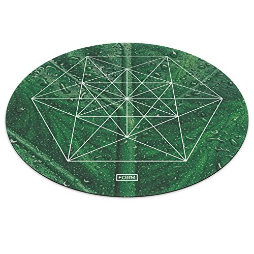 Form Pro Round Yoga Exercise Mat. Circle Non Slip Mat, Sustainable, British Designed, Alignment Grid. Includes Carry Strap (Spring)
