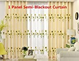 AliFish Grommet Semi Blackout Curtains Embroidered Sunflower Privacy Protection Window Treatment Decoration Energy Saving for Sliding Glass Door 1 Panel 39 inch Width by 84 inch Length For Sale
