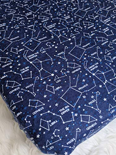 Fitted Crib Sheet – Nursery Bedding – Handmade in The PNW (Constellation Crib Sheet, Space Crib Sheet, Stars Crib Sheet)