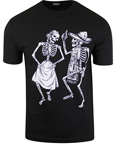 Mexican Day of The Dead Shirt Dancing Skeletons Sugar Skull Charro Charra (3XL) by ShirtBANC