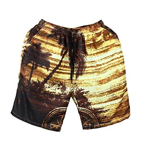 Imprimé À Plage Short homme Overdose Taille overdose Homme Slim Pantalon Trousers Chino Hawai Bermuda Jaune Shorts Casual Skinny Elastique Coton SxtIwYw