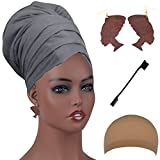 Long Stretch Head Wrap Set- Solid Color African Turban Hair Scarf Tie, Double Sided Edge Control Hair Brush Comb Combo,Wooden Colored Turban African Woman Earrings,Wig Cap (OneSize, Grey)