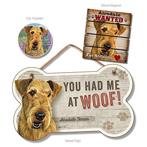 Airedale Magnet (Airedale Terrier Home Decor Bundle Pack (Dog Bone Sign, Car Coaster, Pallet Magnet))