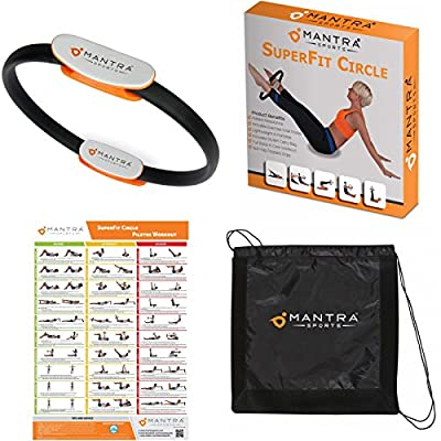 Pilates Ring - Magic Fitness Circle For Core Strength Includes Exercise Wall Poster & Carry Bag by Mantra Sports