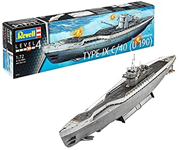 Revell Maqueta Submarino alemán Type IX C/40, Kit Modello Escala 1:72 (5133) (05133), 106,3 cm de Largo