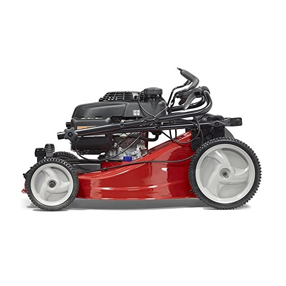 Jonsered L2821, 21 in. 160cc GCV160 Honda 3-in-1 Walk Behind Front-Wheel-Drive Mower 4 Powered by 160cc Honda GCV160 engine with 6.9 ft-lbs Gross torque Dual trigger control system allows you to operate with either hand, or split the effort between both. High-tunnel cutting deck design delivers premium cut quality and bagging performance while providing a close trim, every time.