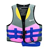 Genwiss Life Jackets for Girls Neoprene Child Life Vest Purple Small for 3-4 Years 33-40 lbs