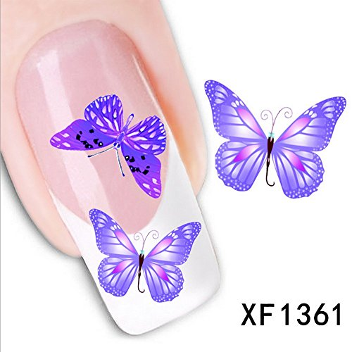 LEECO 5 PCS 3D Self-adhesive Beauty Nail Art Water Transfer Decal Sticker Sexy Lipstick Series Pattern Nail Art Sticker Decorations for Girls,Purple Butterfly (Purple Butterfly Tattoo)