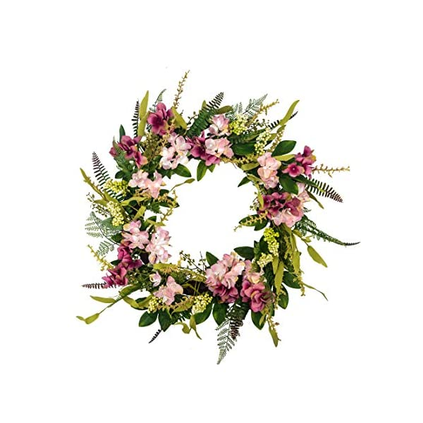 Huashen Spring Floral Hydrangea Wreath on Twig Base 24 Inch Artificial Front Door Wreath for Summer