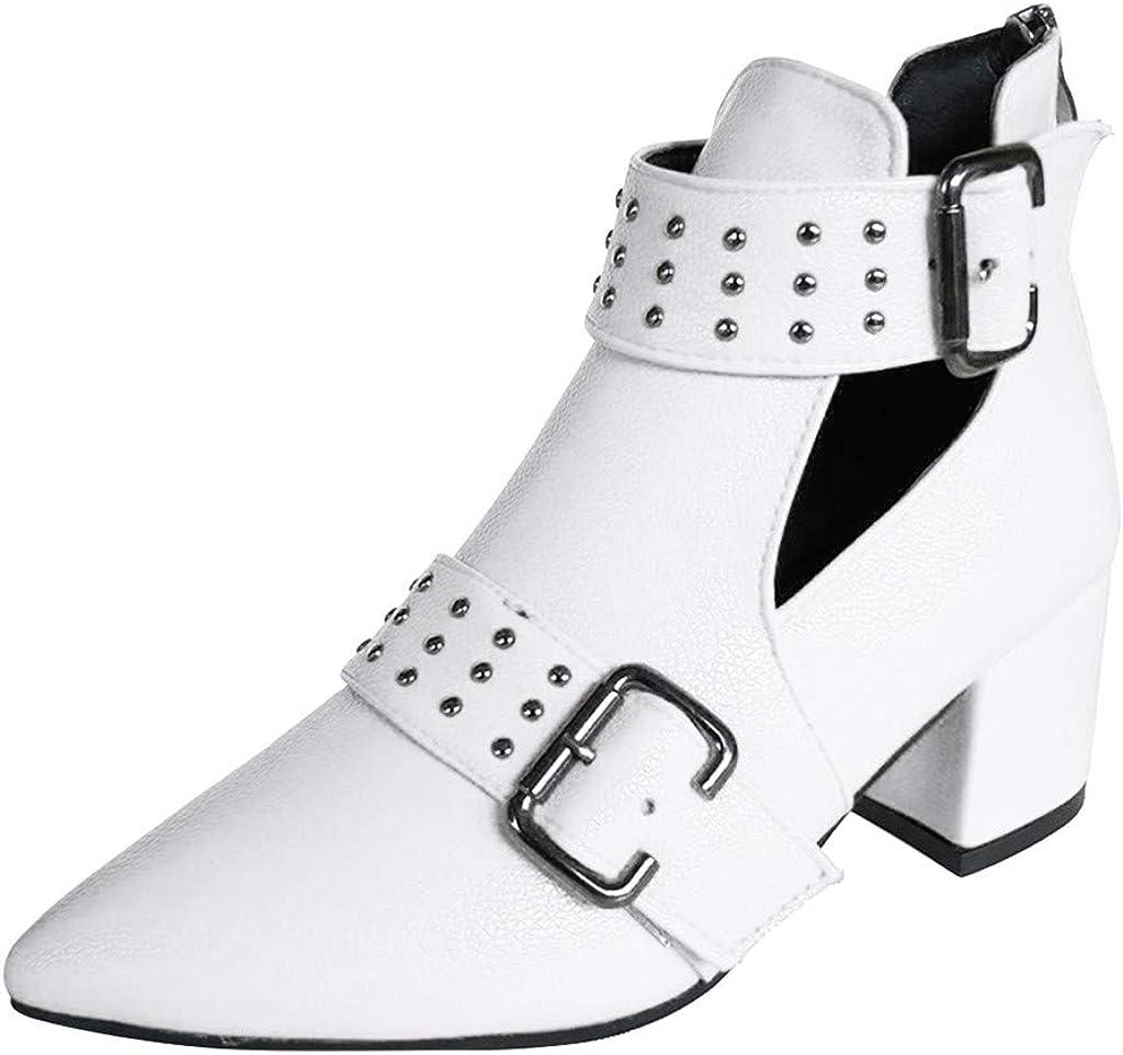 TWIFER Botas Cortas Mujer Botines Correa de Hebilla Antideslizante Zapatos Botas Chelsea de Invierno Fiesta Botines de Tacón Grueso Cuero PU Casual Color Sólido Negro Rojo Blanco 35-41