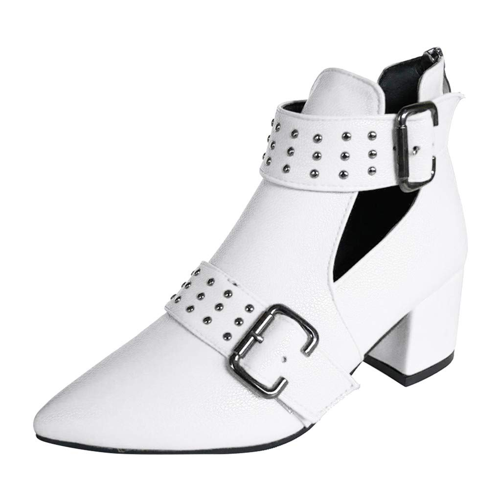 Women's Rome Vintage Ankle Boots, Ladies Casual Solid Color Single Shoes Elegant Comfty Pointed Toe Boots White by POPNINGKS