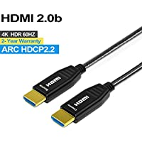Fiber HDMI Cable 4K 50ft 60Hz, FURUI Fiber Optic HDMI 2.0b Cable Nylon Braided HDR, ARC, HDCP2.2, 3D, High Speed 18Gbps Subsampling 4:4:4/4:2:2/4:2:0 Slim and Flexible HDMI Fiber Optic Cable