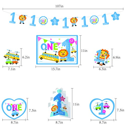 GOER Cute Blue Alphabet Letters and Whale Foil Balloons Set for Boys 1st Birthday Party Decoration,Include 31 Balloons,s and 1 Hand Balloon Pump