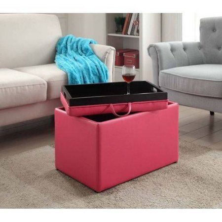 Amazon.com: Storage Ottoman Table with Double Sided Lid, Rectangle ...