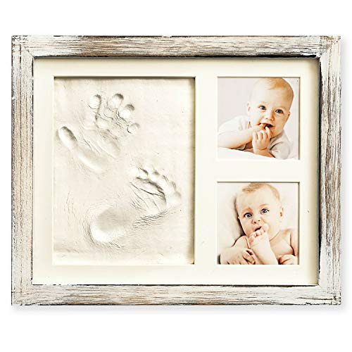 Baby Hand and Footprint Kit in Rustic Farmhouse Frame, a Baby Registry Must Have - Baby Handprint Kit | Baby Footprint Kit | Baby Nursery Decor (Gray) from MAINEVENT