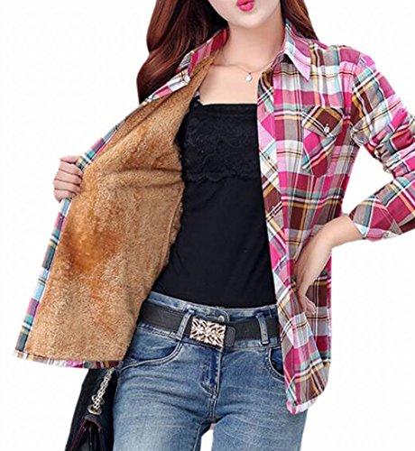 (Jaycargogo Women's Long Sleeve Plaid Flannel Warm Shirt Fleece Lined Blouse Up 12 XL)