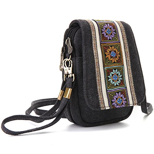 Pouch Goodhan Basic Grey For Women Bag Canvas Size Girls Embroidery Deep Purse Crossbody Cell Phone A001 Coin 44q1gAY